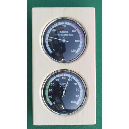 Szauna hőmérő és páratartalom mérő rezgőnyárfa keretben 140x255 mm