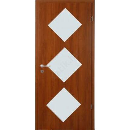 Beltéri ajtó dekorfóliás  Dió szín  90x210x12 cm balos D üv hely  MAS303 útólag szerelhető tokkal