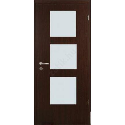 Beltéri ajtó dekorfóliás  Wenge szín 100x210x12 cm jobbos E 3 üv  MAS317 útólag szerelhető tokkal