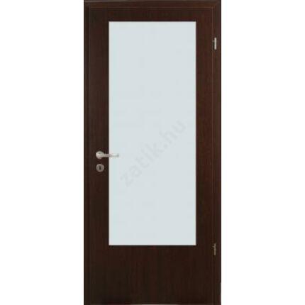 Beltéri ajtó dekorfóliás  wenge szín  90x210x12 cm balos B üv helyes MAS63 utólag szerelhető tokkal