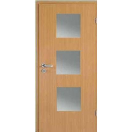 Beltéri ajtó dekorfóliás  Bükk szín  75x210x12 cm balos E 3 üv  MAS320 útólag szerelhető tokkal