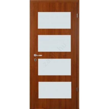 Beltéri ajtó  dekorfóliás   Diófa szín 100x210  4 üveg helyes F balos BT 71 BLOKK TOKKAL