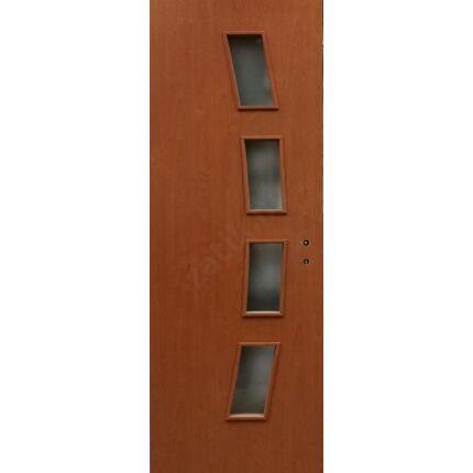 Beltéri ajtó dekorfóliás mahagoni szín  90x210x10 cm 4 üv K balos ÍV10 elegáns íves tokkal