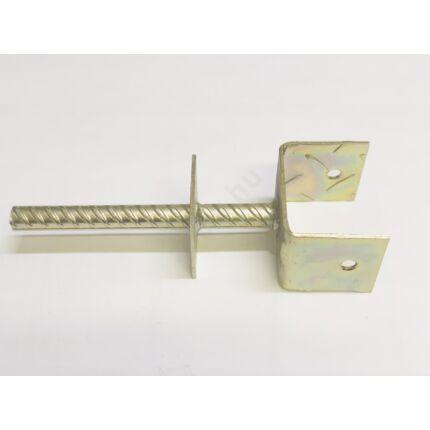 Oszloptartó talp betonozható  80x60 mm Y horganyzott szinttartó lemezzel MMF HU++