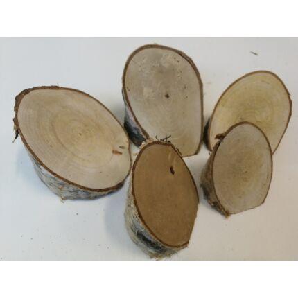 Nyírfa rönk fa szelet   átm. 60-80 mm  5 db OVÁLIS SAROK fa korong / csomag