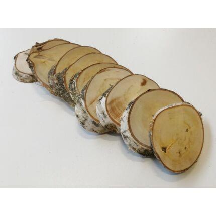 Nyírfa rönk fa szelet   átm. 40-60 mm 10-20 mm vastag 10 db OVÁLIS fa korong / csomag