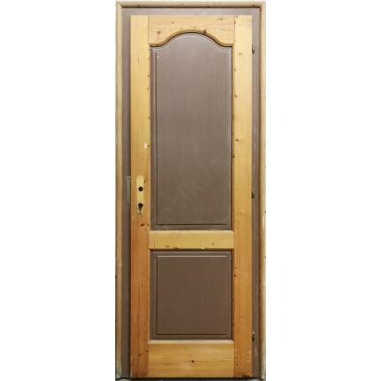 Beltéri ajtó lucfenyőfa 2 kazettás íves  85x215 cm BONTOTT tele jobbos palló tokos 1. sz