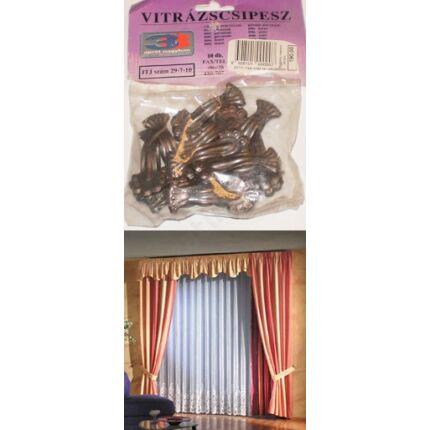 Függönycsipesz vitrázsrúdra bronz színű 10 db/csomag CZ HU+