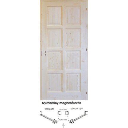 Beltéri ajtó lucfenyő 8 kazettás  750x2100 mm tele  jobbos 12. sz DE HU++