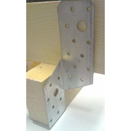 Perforált acél lemez gerenda rögzítő 55x55x200 mm balos 90 fokos kötésekhez talppapucs