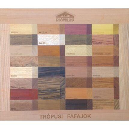 Faminta intarzia panel 480x490 mm trópusi fafajokból