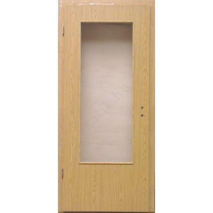 Beltéri ajtó dekorfóliás  Tölgy szín  90x210x12 cm üveges jobb MAS119 utólag szerelhető tokkal