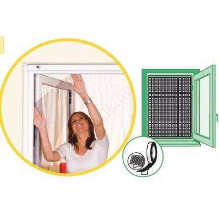 Szúnyogháló ablakra  öntapadós tépőzáras 100x100 cm FEKETE mako rovarháló
