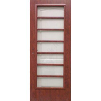 Beltéri ajtó dekorfóliás  mahagóni szín  90x210x12 cm 7 üveges jobbos X  MAS 9 szépséhibás tok