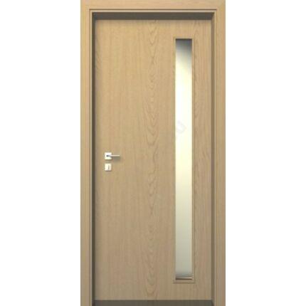 Beltéri ajtó dekorfóliás  Tölgy szín  90x210x14 cm közép üv jobbos MAS107 utólag szerelhető tokkal