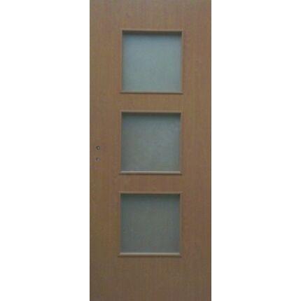 Beltéri ajtó dekorfóliás diófa szín  75x210x 8 cm 3 üv E jobbos ÍV21 elegáns íves tokkal