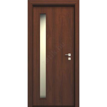 Beltéri ajtó dekorfóliás diófa szín  75x210x10 cm old üv A jobbos ÍV13 elegáns íves tokkal