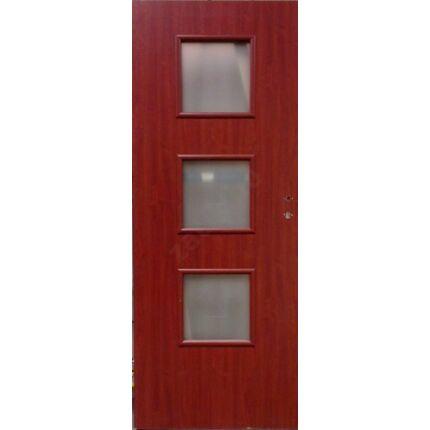 Beltéri ajtó dekorfóliás mahagoni szín  90x210x10 cm 3 üv E balos ÍV8 elegáns íves tokkal