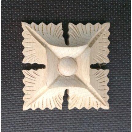 Faragott fa dísz  FRO02  80x80 mm bükkfa faragott rozetta bútordísz 321 CL HU++