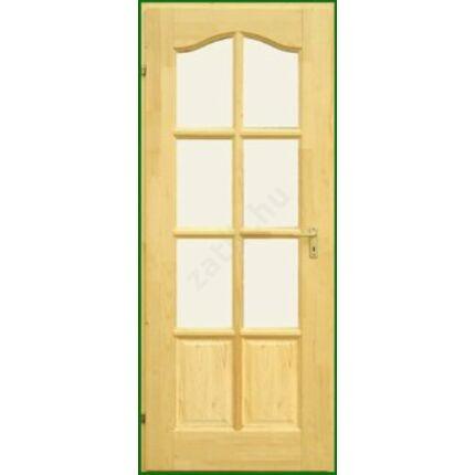 Beltéri ajtó lucfenyő 8 kazettás íves  75x210 cm Félig Üvegezhető balos palló tokos DE HU++