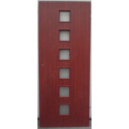 Beltéri ajtó  dekorfóliás  CLA BT19 Mahagóni szín  75x210  6 üveges jobbos X BT BLOKK TOKKAL
